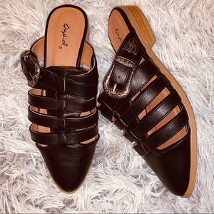 |qupid| western style caged mules